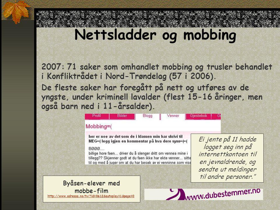 Nettsladder og mobbing 2007: 71 saker som omhandlet mobbing og trusler behandlet i Konfliktrådet i Nord-Trøndelag (57 i 2006).