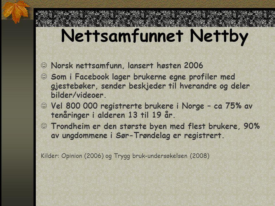 Nettsamfunnet Nettby  Norsk nettsamfunn, lansert høsten 2006  Som i Facebook lager brukerne egne profiler med gjestebøker, sender beskjeder til hverandre og deler bilder/videoer.