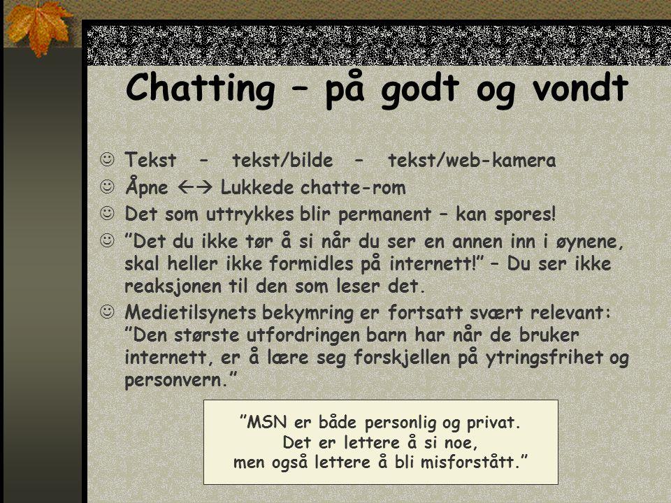 Chatting – på godt og vondt  Tekst – tekst/bilde – tekst/web-kamera  Åpne  Lukkede chatte-rom  Det som uttrykkes blir permanent – kan spores.