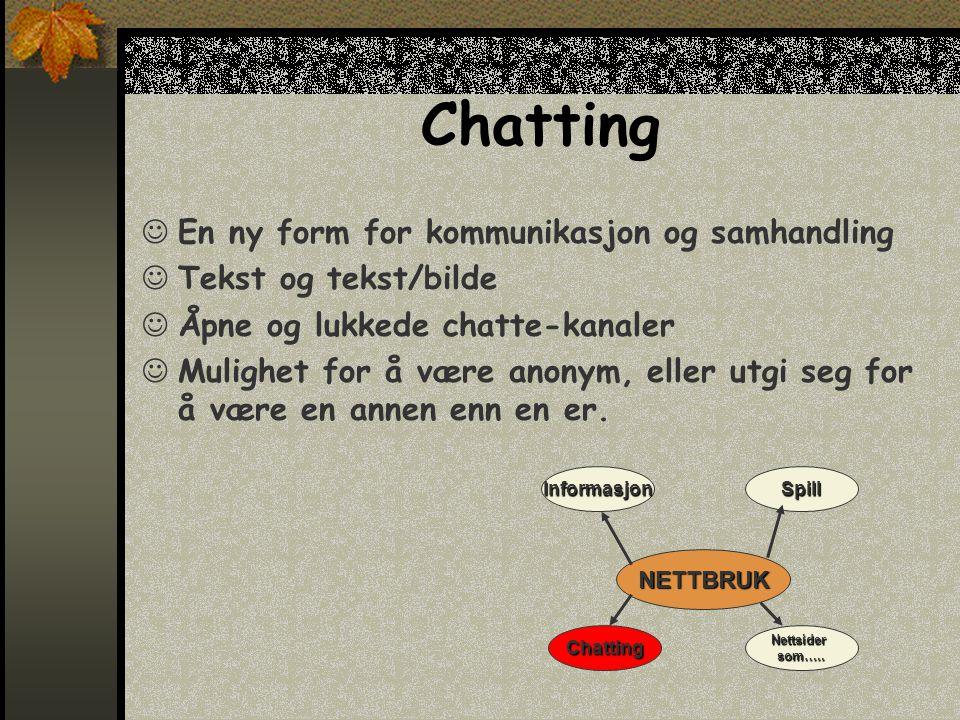Chatting  En ny form for kommunikasjon og samhandling  Tekst og tekst/bilde  Åpne og lukkede chatte-kanaler  Mulighet for å være anonym, eller utgi seg for å være en annen enn en er.