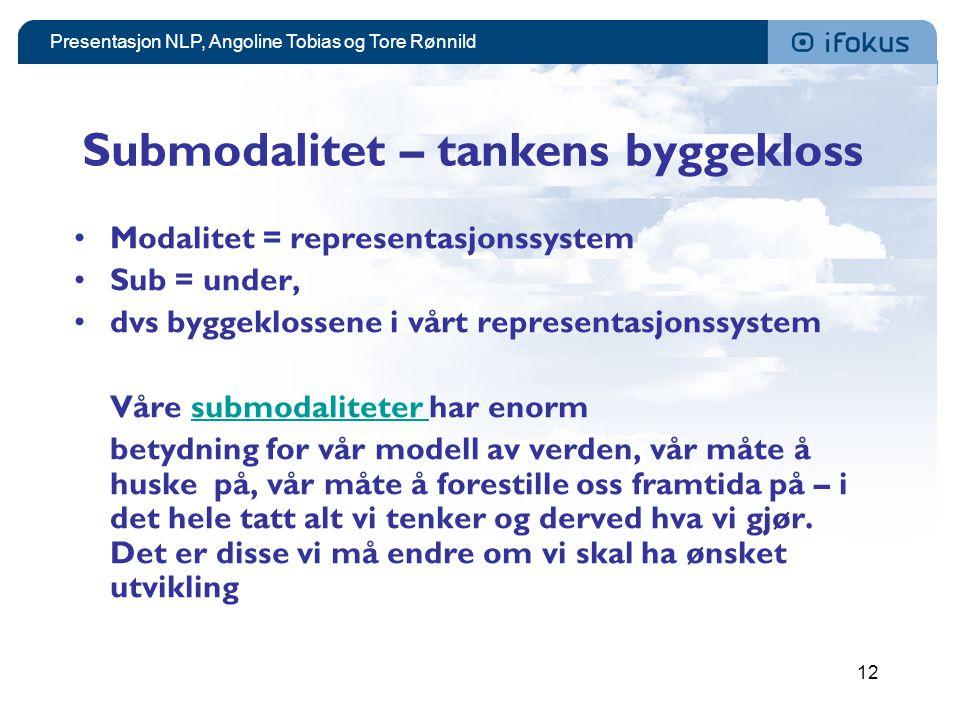 Presentasjon NLP, Angoline Tobias og Tore Rønnild 12 Submodalitet – tankens byggekloss •Modalitet = representasjonssystem •Sub = under, •dvs byggeklos