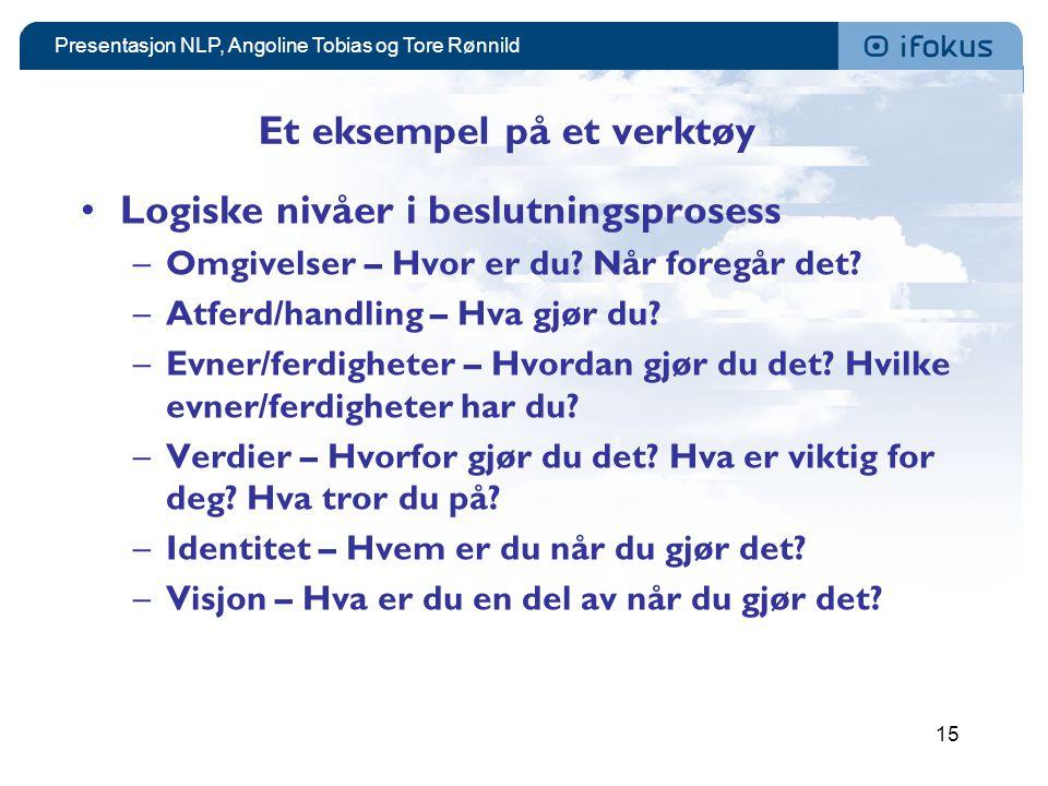 Presentasjon NLP, Angoline Tobias og Tore Rønnild 15 Et eksempel på et verktøy •Logiske nivåer i beslutningsprosess –Omgivelser – Hvor er du.