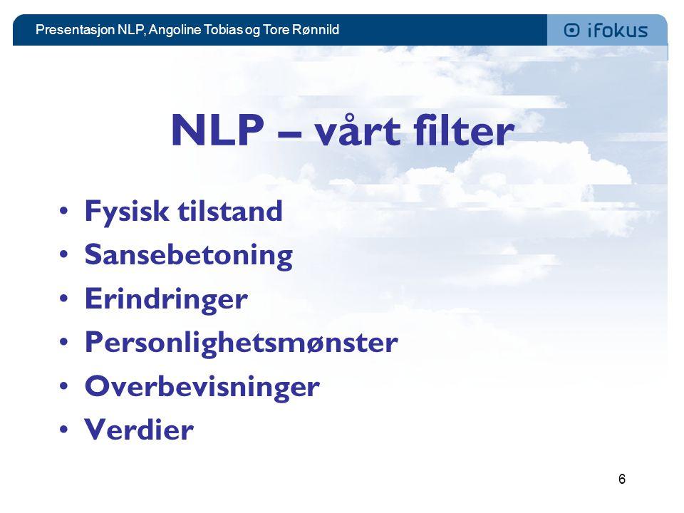 Presentasjon NLP, Angoline Tobias og Tore Rønnild 6 NLP – vårt filter •Fysisk tilstand •Sansebetoning •Erindringer •Personlighetsmønster •Overbevisnin