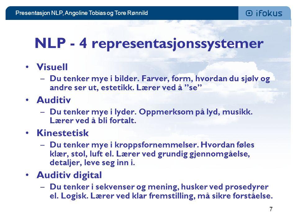 Presentasjon NLP, Angoline Tobias og Tore Rønnild 7 NLP - 4 representasjonssystemer •Visuell –Du tenker mye i bilder. Farver, form, hvordan du sjølv o