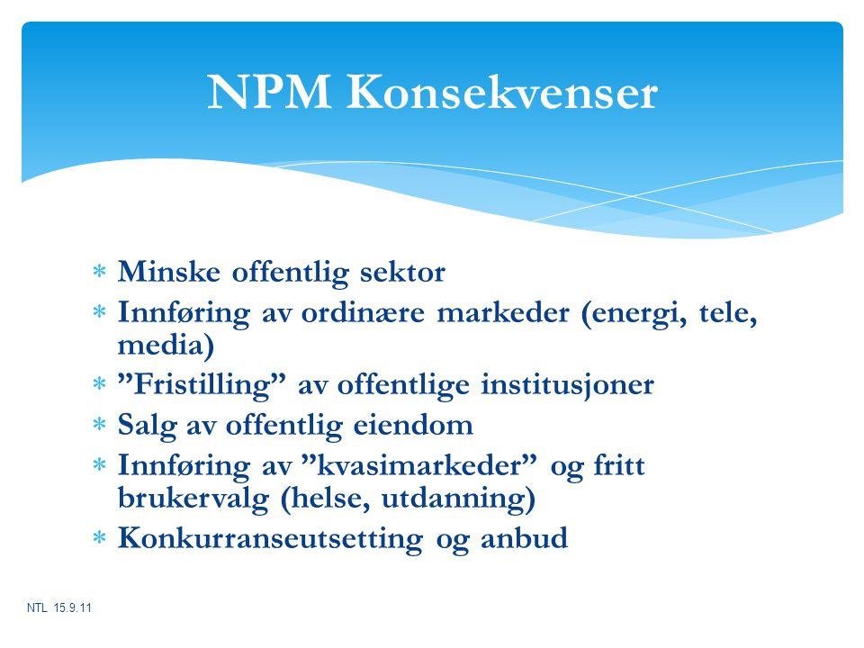 """NPM Konsekvenser  Minske offentlig sektor  Innføring av ordinære markeder (energi, tele, media)  """"Fristilling"""" av offentlige institusjoner  Salg a"""