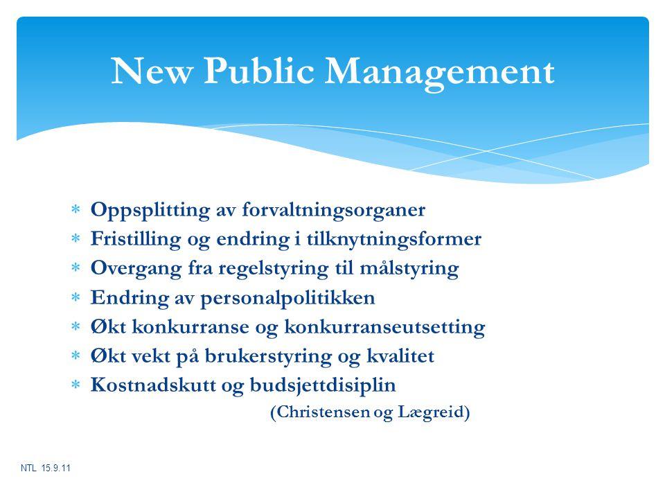  Oppsplitting av forvaltningsorganer  Fristilling og endring i tilknytningsformer  Overgang fra regelstyring til målstyring  Endring av personalpo