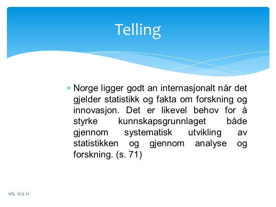 Telling  Norge ligger godt an internasjonalt når det gjelder statistikk og fakta om forskning og innovasjon. Det er likevel behov for å styrke kunnsk