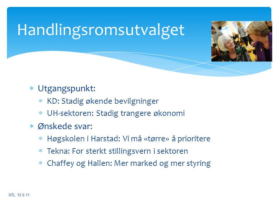  Utgangspunkt:  KD: Stadig økende bevilgninger  UH-sektoren: Stadig trangere økonomi  Ønskede svar:  Høgskolen i Harstad: Vi må «tørre» å priorit