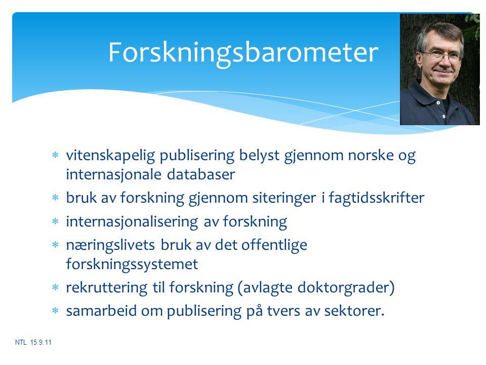  vitenskapelig publisering belyst gjennom norske og internasjonale databaser  bruk av forskning gjennom siteringer i fagtidsskrifter  internasjonal
