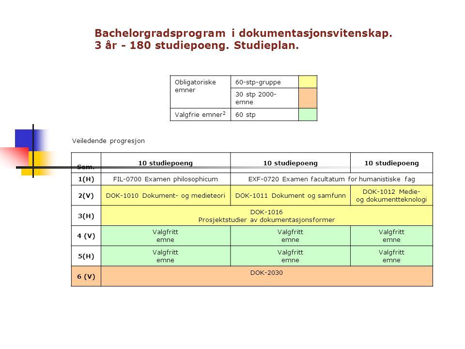 Bachelorgradsprogram i dokumentasjonsvitenskap. 3 år - 180 studiepoeng. Studieplan. Obligatoriske emner 60-stp-gruppe 30 stp 2000- emne Valgfrie emner