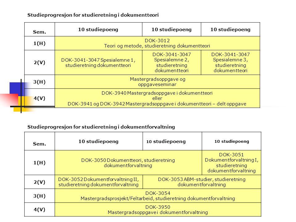 Studieprogresjon for studieretning i dokumentteori Sem. 10 studiepoeng 1(H) DOK-3012 Teori og metode, studieretning dokumentteori 2(V) DOK-3041-3047 S