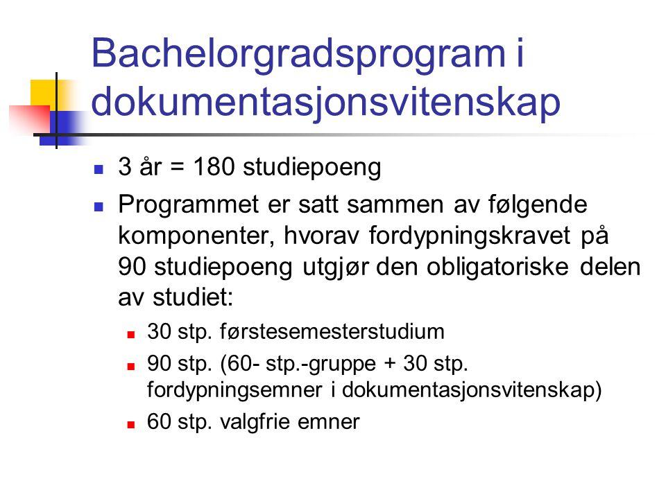 Bachelorgradsprogram i dokumentasjonsvitenskap  3 år = 180 studiepoeng  Programmet er satt sammen av følgende komponenter, hvorav fordypningskravet på 90 studiepoeng utgjør den obligatoriske delen av studiet:  30 stp.