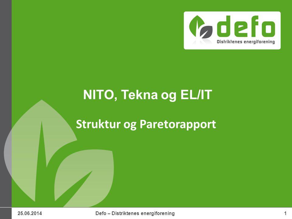 25.06.2014Defo – Distriktenes energiforening1 NITO, Tekna og EL/IT Struktur og Paretorapport