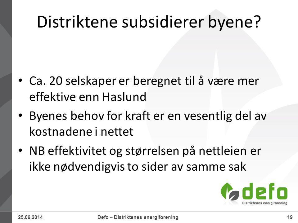 25.06.2014Defo – Distriktenes energiforening19 Distriktene subsidierer byene? • Ca. 20 selskaper er beregnet til å være mer effektive enn Haslund • By