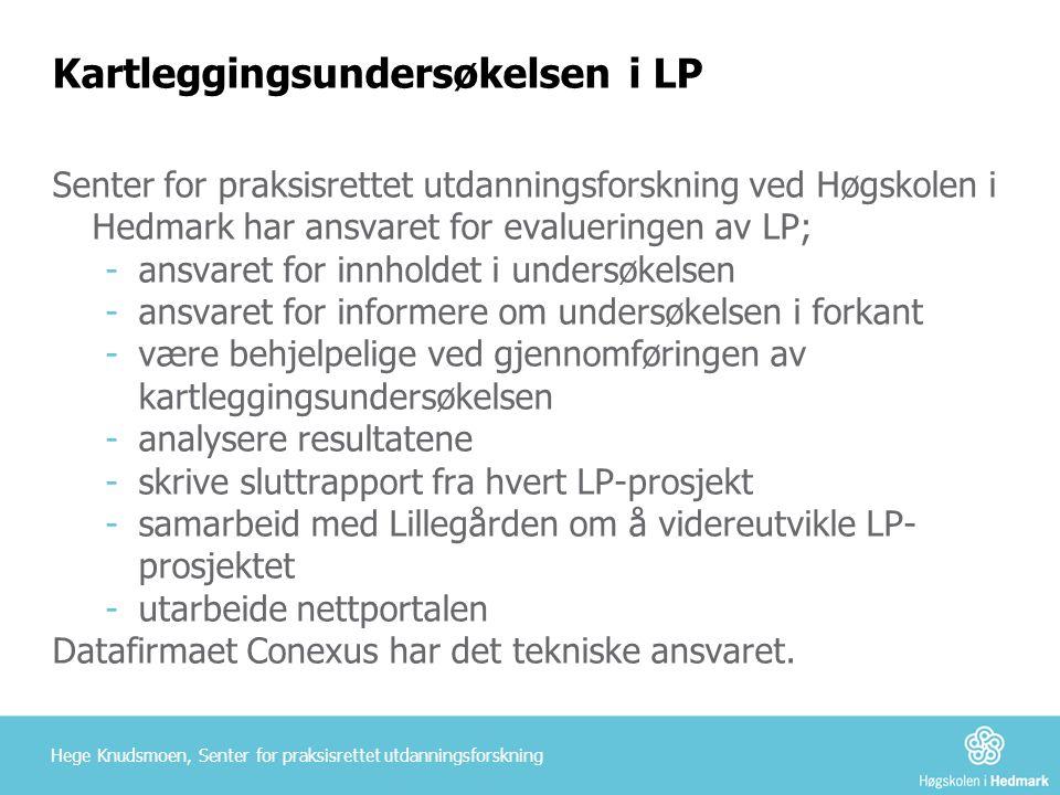 Kartleggingsundersøkelsen i LP Senter for praksisrettet utdanningsforskning ved Høgskolen i Hedmark har ansvaret for evalueringen av LP; -ansvaret for