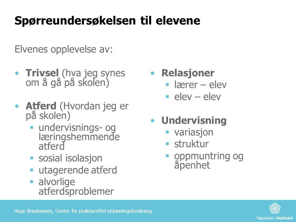 Spørreundersøkelsen til elevene Elvenes opplevelse av: •Trivsel (hva jeg synes om å gå på skolen) •Atferd (Hvordan jeg er på skolen)  undervisnings-