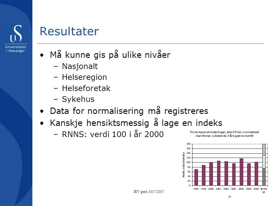 JEV pres 31072007 Resultater •Må kunne gis på ulike nivåer –Nasjonalt –Helseregion –Helseforetak –Sykehus •Data for normalisering må registreres •Kans