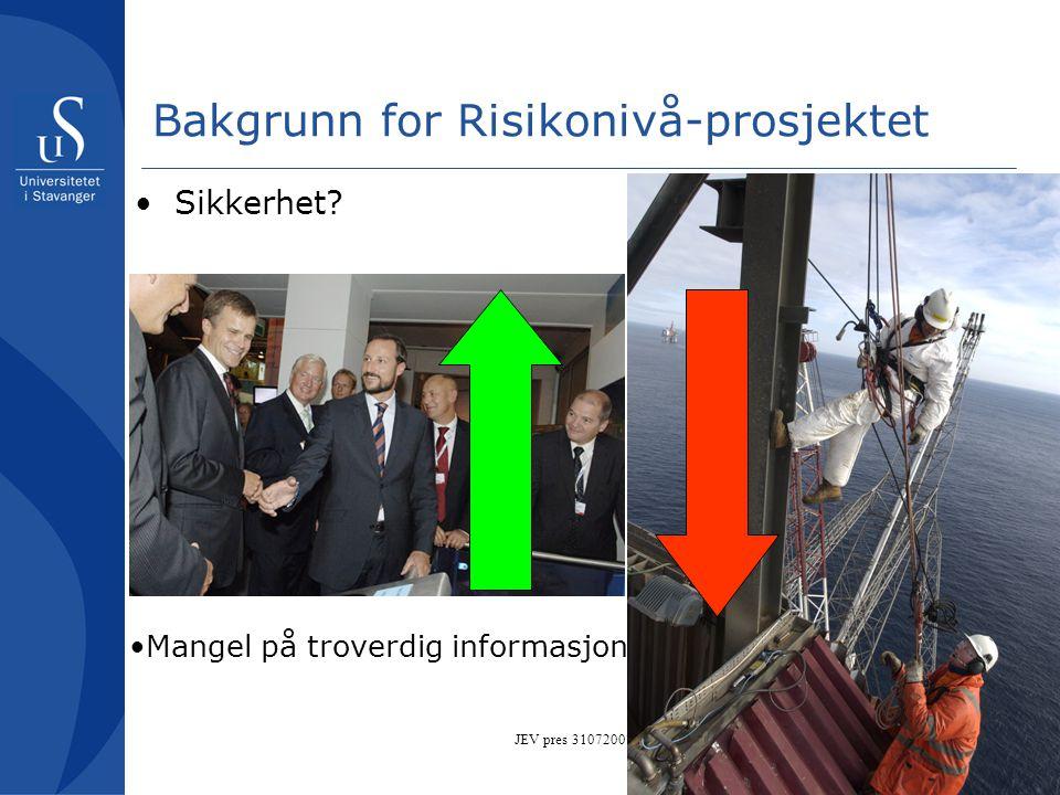 JEV pres 31072007 Bakgrunn for Risikonivå-prosjektet •Sikkerhet? •Mangel på troverdig informasjon