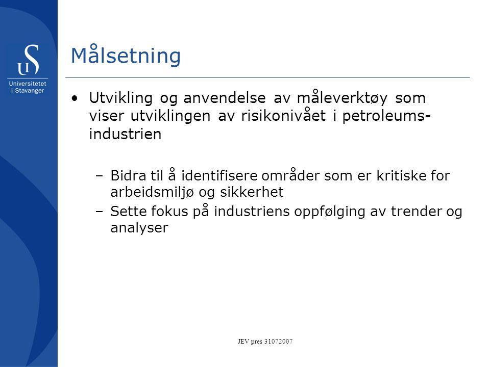 JEV pres 31072007 Målsetning •Utvikling og anvendelse av måleverktøy som viser utviklingen av risikonivået i petroleums- industrien –Bidra til å ident