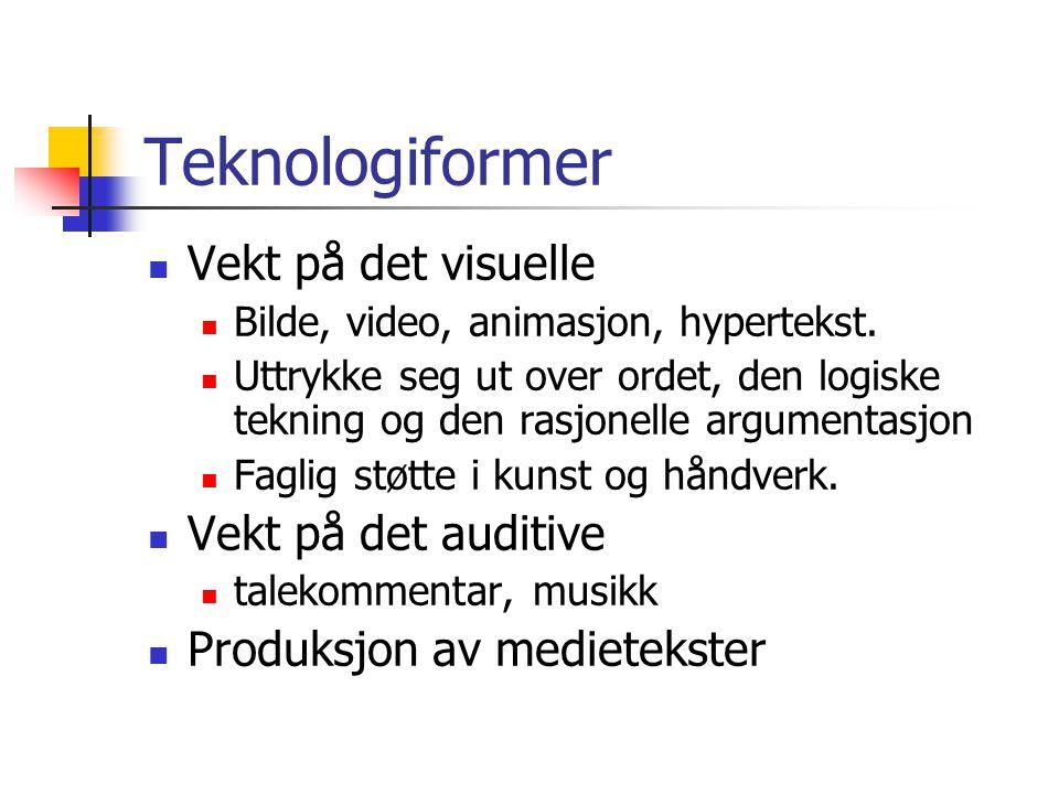 Teknologiformer  Vekt på det visuelle  Bilde, video, animasjon, hypertekst.