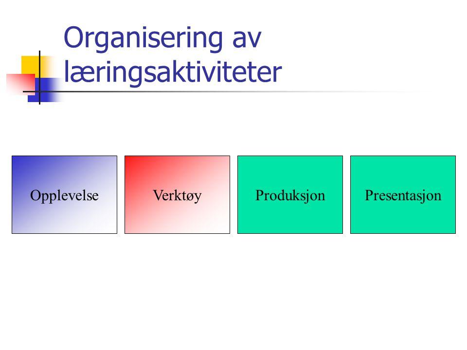 OpplevelseVerktøyProduksjonPresentasjon Organisering av læringsaktiviteter