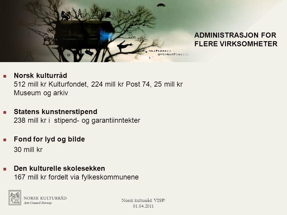 Administrasjon for flere virksomheter  Norsk kulturråd 512 mill kr Kulturfondet, 224 mill kr Post 74, 25 mill kr Museum og arkiv  Statens kunstnerst
