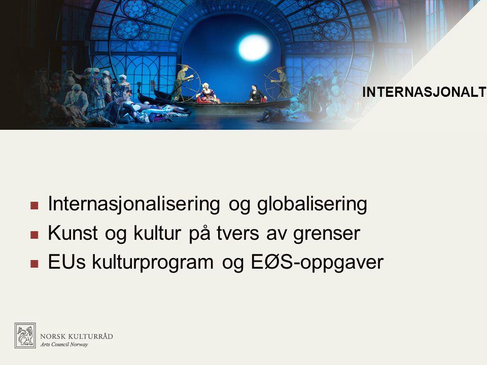 Internasjonale utfordringer  Internasjonalisering og globalisering  Kunst og kultur på tvers av grenser  EUs kulturprogram og EØS-oppgaver INTERNAS