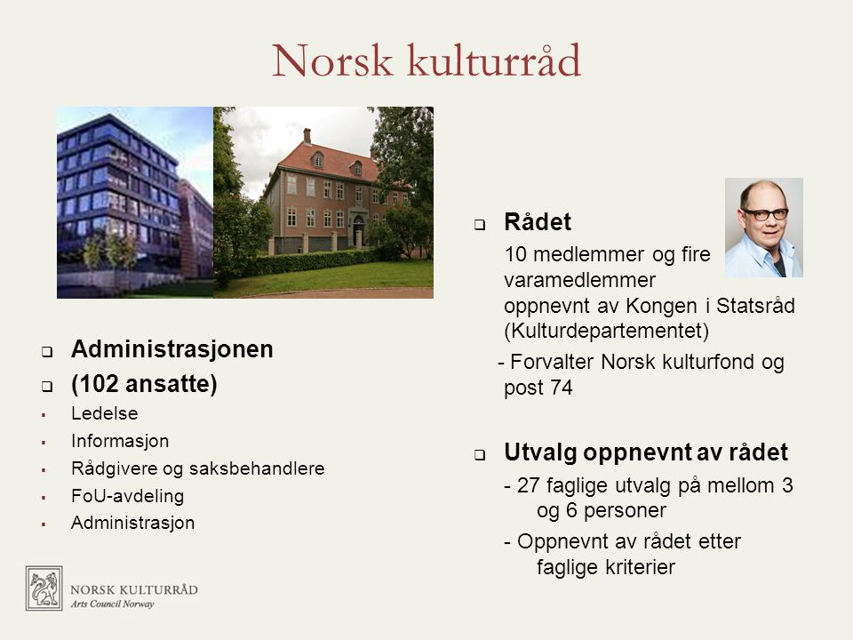 Norsk kulturråd  Administrasjonen  (102 ansatte)  Ledelse  Informasjon  Rådgivere og saksbehandlere  FoU-avdeling  Administrasjon  Rådet 10 me