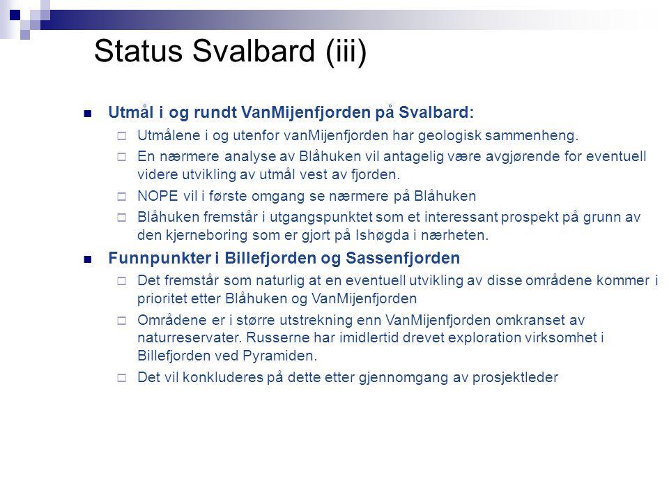 Status Svalbard (iii)  Utmål i og rundt VanMijenfjorden på Svalbard:  Utmålene i og utenfor vanMijenfjorden har geologisk sammenheng.  En nærmere a