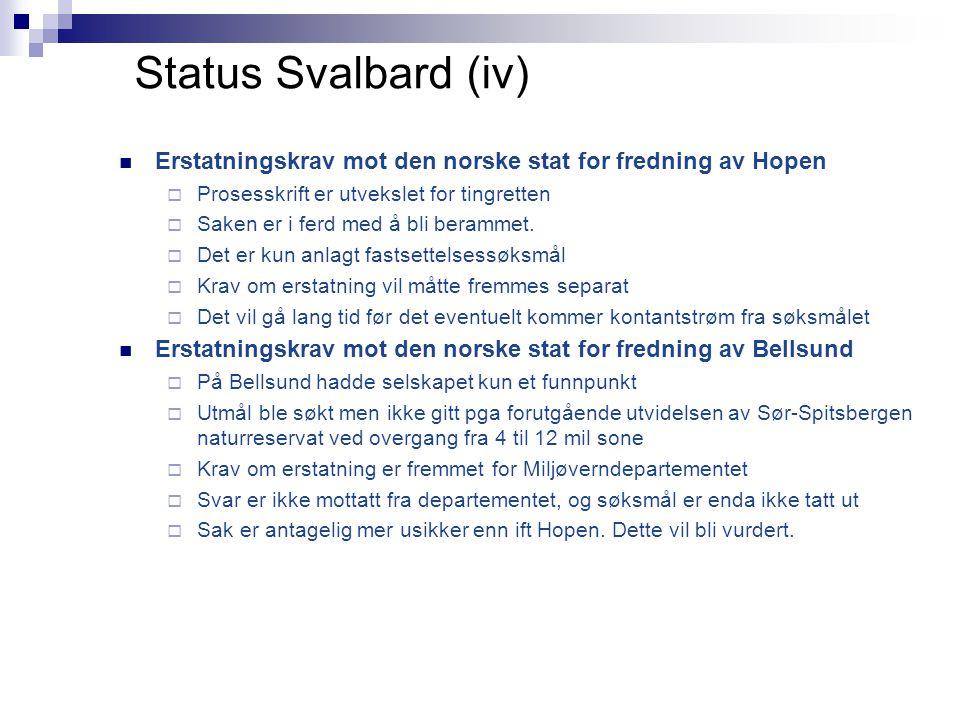 Status Svalbard (iv)  Erstatningskrav mot den norske stat for fredning av Hopen  Prosesskrift er utvekslet for tingretten  Saken er i ferd med å bli berammet.