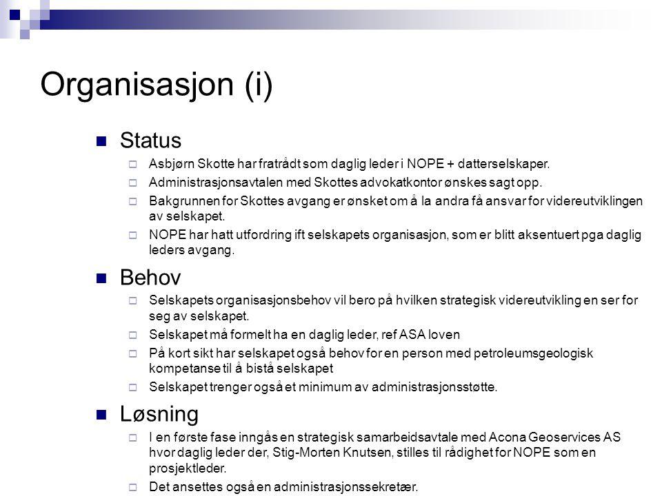Organisasjon (i)  Status  Asbjørn Skotte har fratrådt som daglig leder i NOPE + datterselskaper.  Administrasjonsavtalen med Skottes advokatkontor