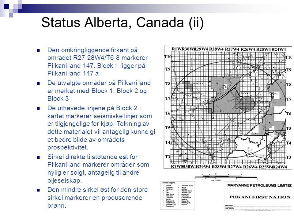 Status Alberta, Canada (ii)  Den omkringliggende firkant på området R27-28W4/T6-8 markerer Piikani land 147. Block 1 ligger på Piikani land 147 a  D