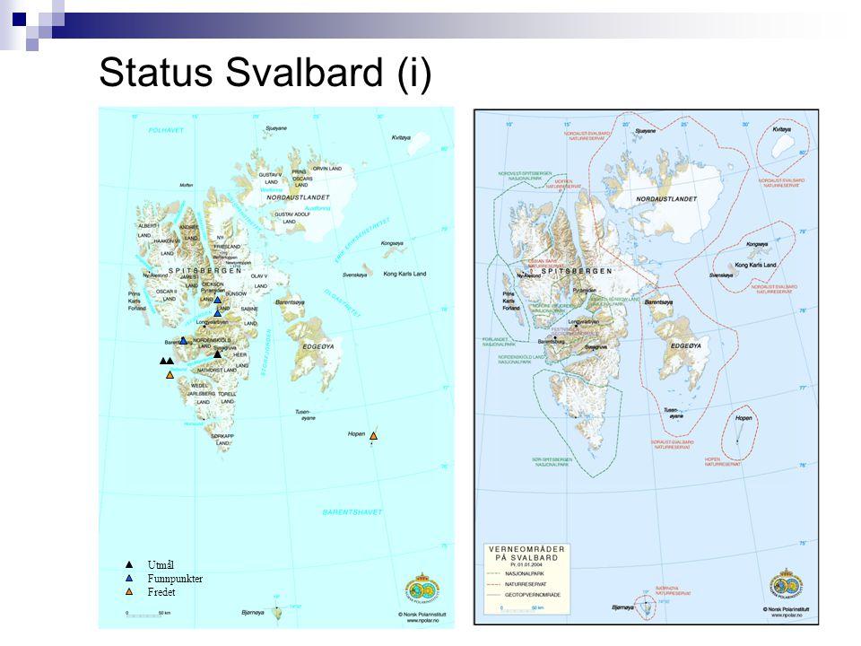 Status Svalbard (ii)  Utmål:  Blåhuken (utmål inne i VanMijenfjorden)  Marianne (utmål offshore vest for VanMijenfjorden)  Gloria – fortsatt utmålsforretning frem til 15.02.07 (mulig utmål offshore vest for VanMijenfjorden)  Funnpunkter:  Billefjorden  Sassenfjorden  Fredede områder:  Hopen (utmål øy syd for Spitsbergen)  Bellsund (funnpunkt offshore vest for VanMijenfjorden)  Miljøutfordringer:  Naturreservater på Svalbard kan gi utfordringer ved utbygging.