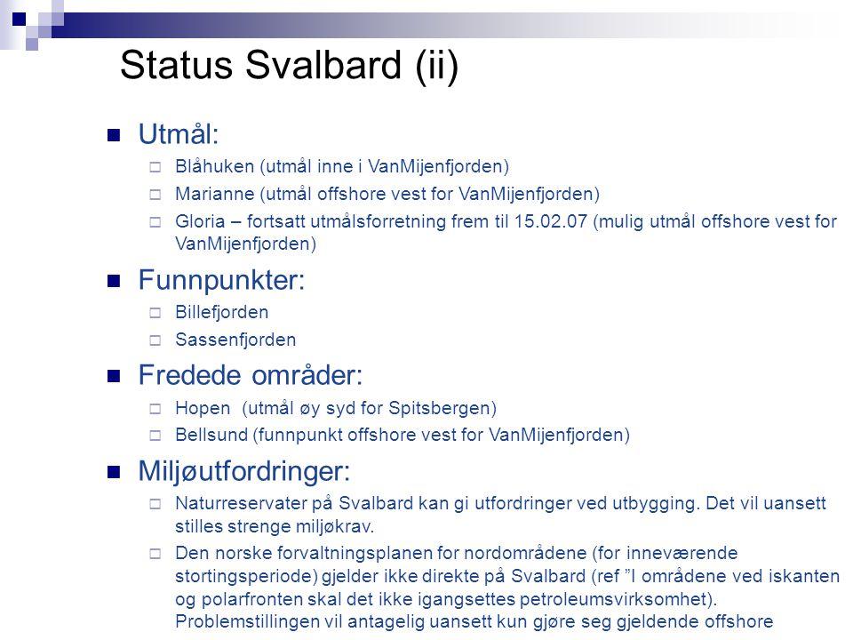 Status Svalbard (ii)  Utmål:  Blåhuken (utmål inne i VanMijenfjorden)  Marianne (utmål offshore vest for VanMijenfjorden)  Gloria – fortsatt utmål