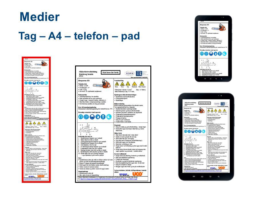 Medier Tag – A4 – telefon – pad