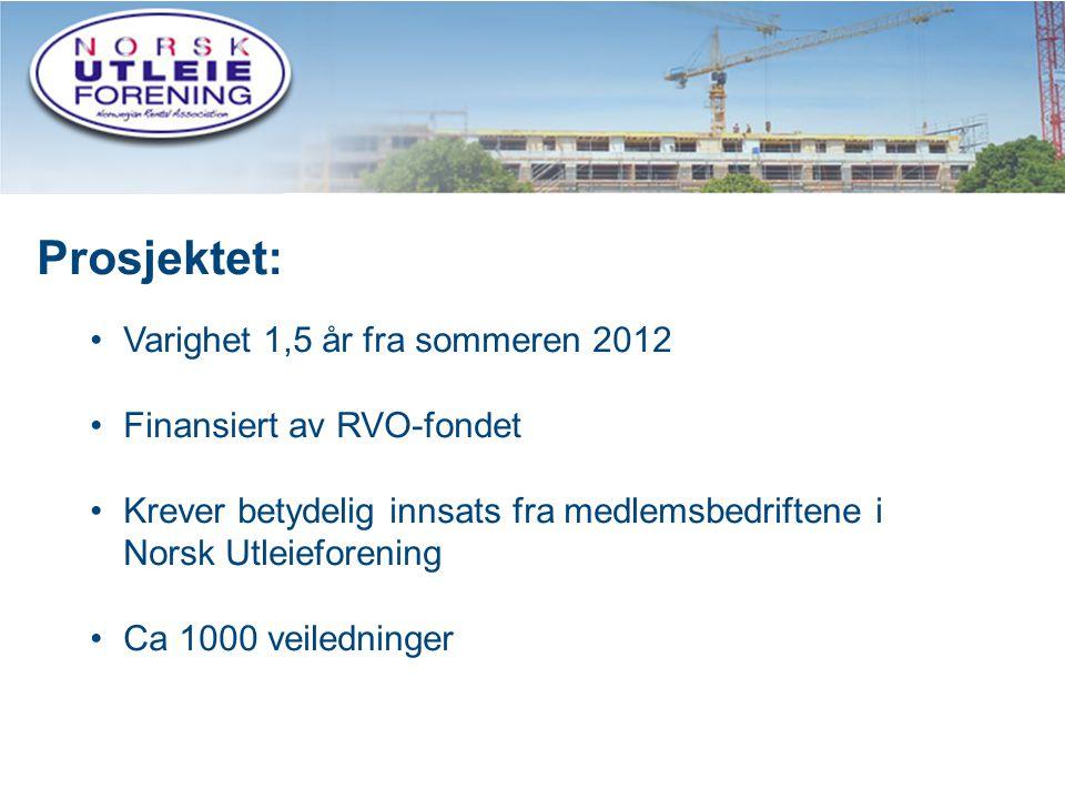 6 Prosjektet: •Varighet 1,5 år fra sommeren 2012 •Finansiert av RVO-fondet •Krever betydelig innsats fra medlemsbedriftene i Norsk Utleieforening •Ca 1000 veiledninger