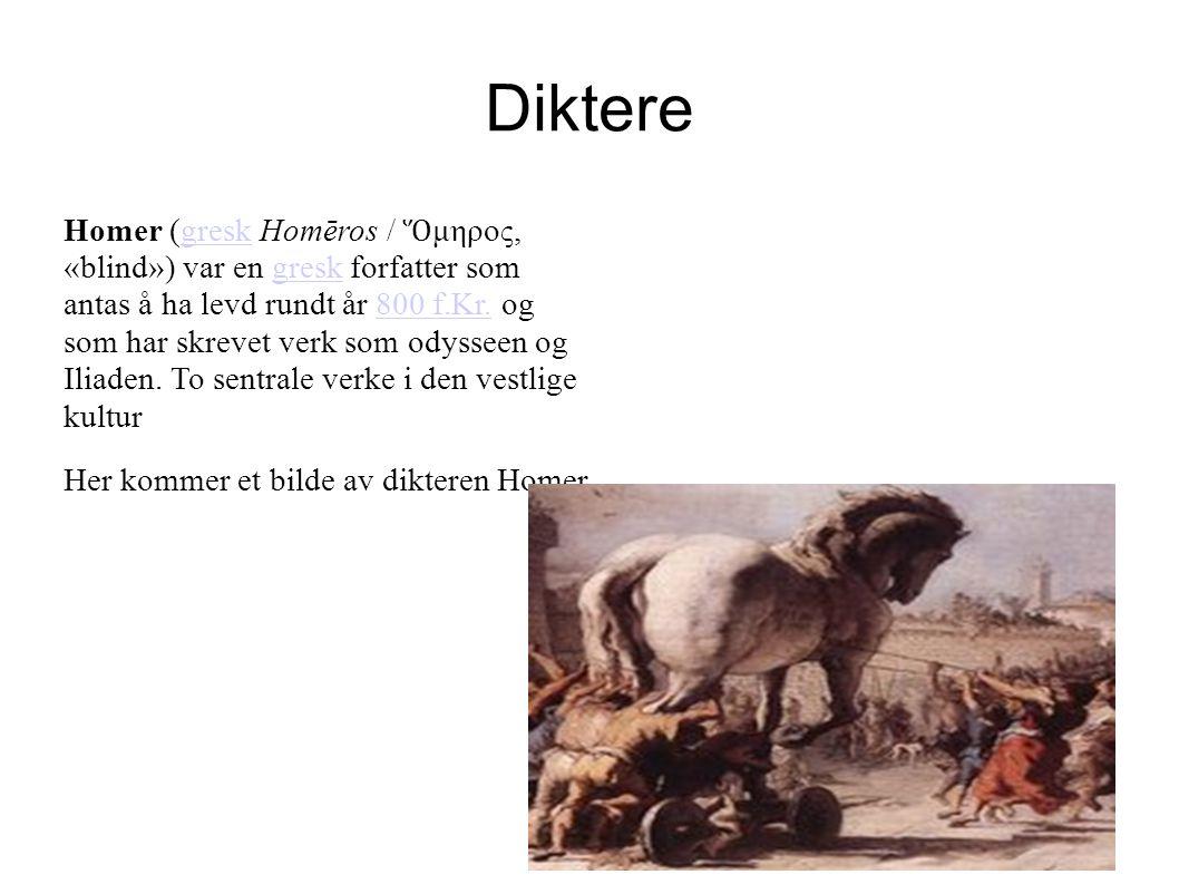 Diktere Homer (gresk Homēros / Ὅ μηρος, «blind») var en gresk forfatter som antas å ha levd rundt år 800 f.Kr. og som har skrevet verk som odysseen og