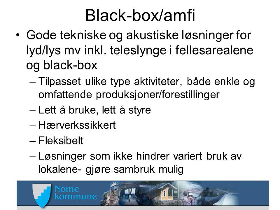 Black-box/amfi •Gode tekniske og akustiske løsninger for lyd/lys mv inkl. teleslynge i fellesarealene og black-box –Tilpasset ulike type aktiviteter,