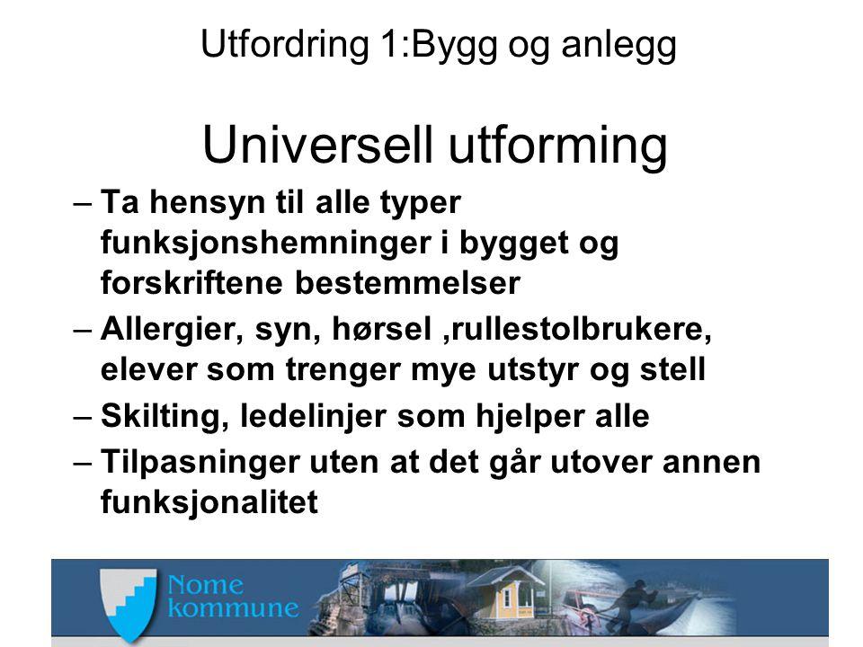Utfordring 1:Bygg og anlegg Universell utforming –Ta hensyn til alle typer funksjonshemninger i bygget og forskriftene bestemmelser –Allergier, syn, h