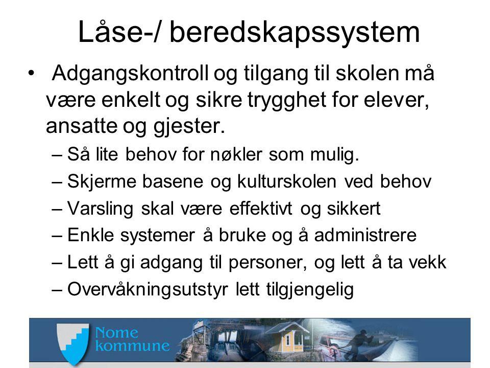 Låse-/ beredskapssystem • Adgangskontroll og tilgang til skolen må være enkelt og sikre trygghet for elever, ansatte og gjester.