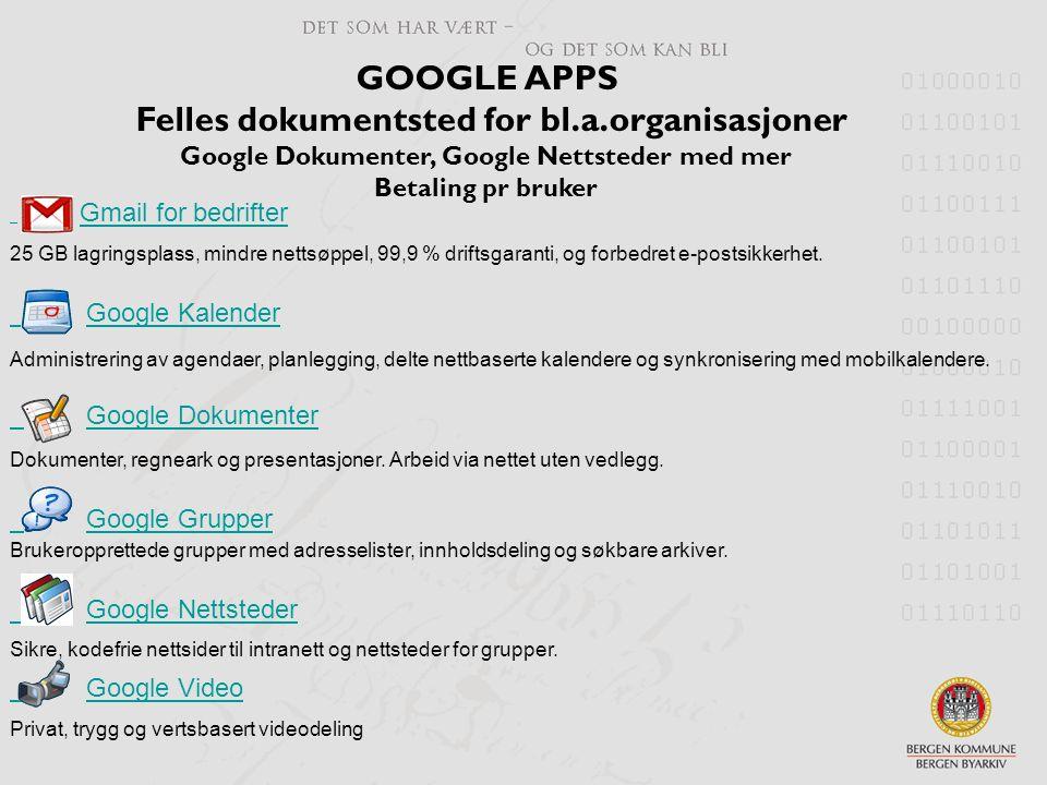 GOOGLE APPS Felles dokumentsted for bl.a.organisasjoner Google Dokumenter, Google Nettsteder med mer Betaling pr bruker Gmail for bedrifter 25 GB lagr
