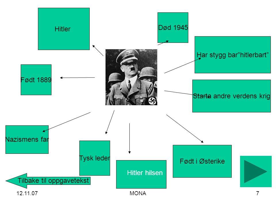 12.11.07MONA7 Tysk leder Nazismens far Hitler Starta andre verdens krig Født i Østerike Født 1889 Har stygg bar hitlerbart Død 1945 Tilbake til oppgavetekst Hitler hilsen