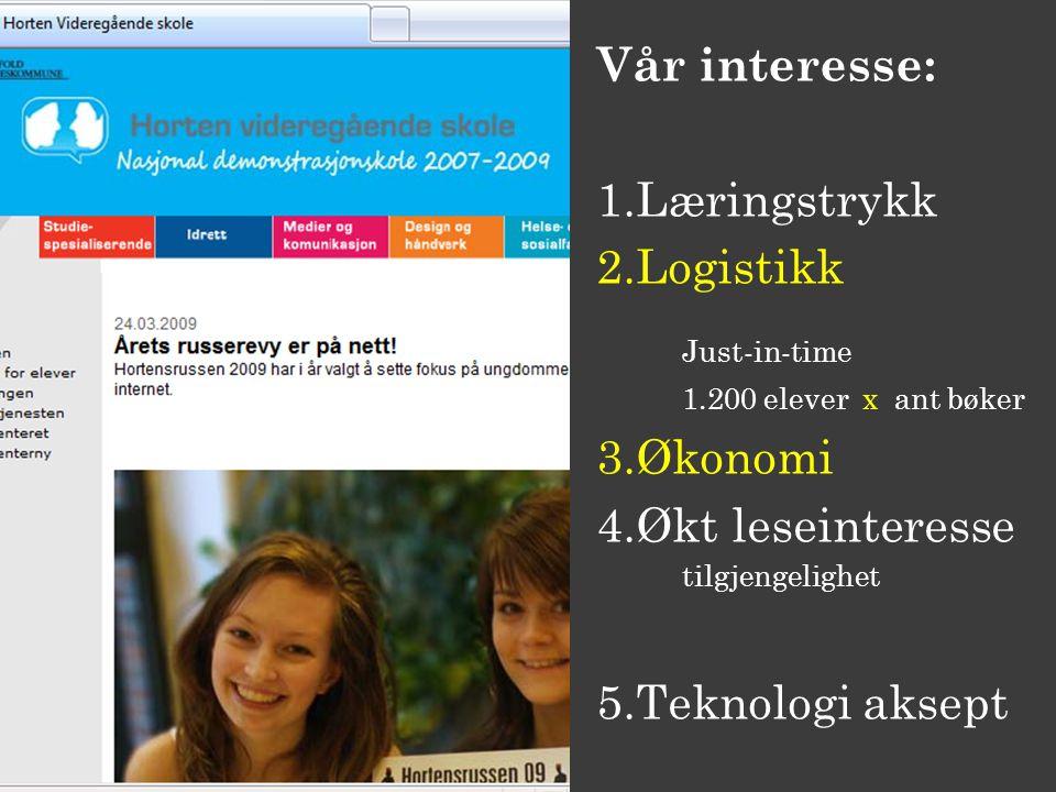 Vår interesse: 1.Læringstrykk 2.Logistikk Just-in-time 1.200 elever x ant bøker 3.Økonomi 4.Økt leseinteresse tilgjengelighet 5.Teknologi aksept