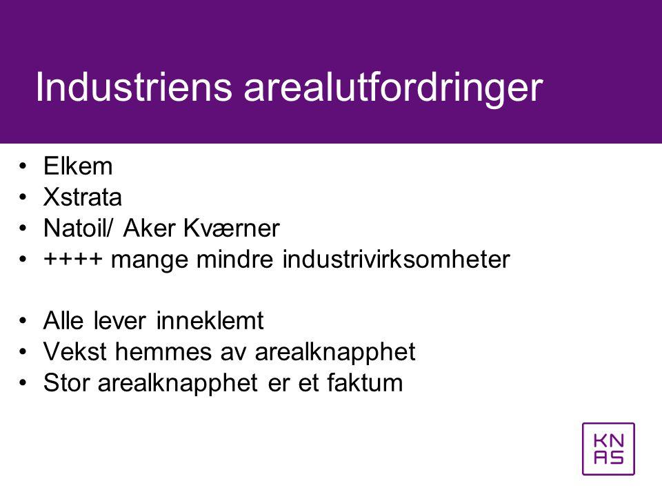 •Elkem •Xstrata •Natoil/ Aker Kværner •++++ mange mindre industrivirksomheter •Alle lever inneklemt •Vekst hemmes av arealknapphet •Stor arealknapphet