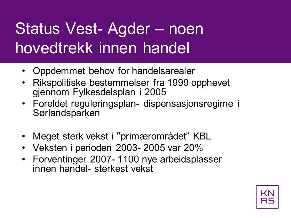 Status Vest- Agder – noen hovedtrekk innen handel •Oppdemmet behov for handelsarealer •Rikspolitiske bestemmelser fra 1999 opphevet gjennom Fylkesdels