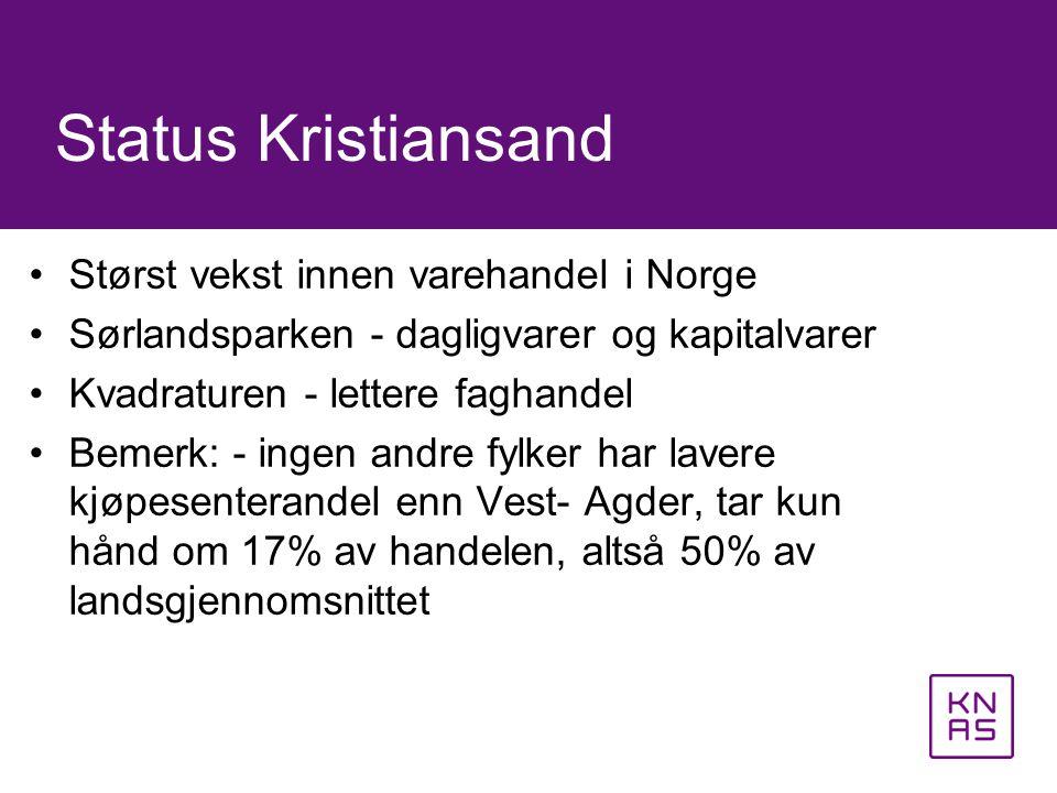 •Størst vekst innen varehandel i Norge •Sørlandsparken - dagligvarer og kapitalvarer •Kvadraturen - lettere faghandel •Bemerk: - ingen andre fylker ha