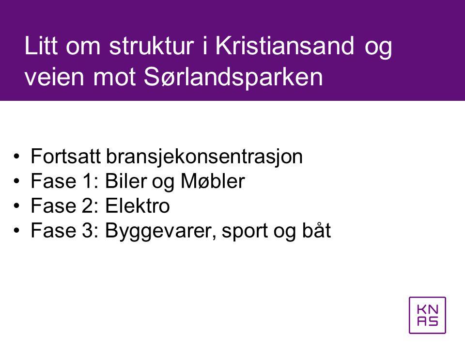 •Fortsatt bransjekonsentrasjon •Fase 1: Biler og Møbler •Fase 2: Elektro •Fase 3: Byggevarer, sport og båt Litt om struktur i Kristiansand og veien mo