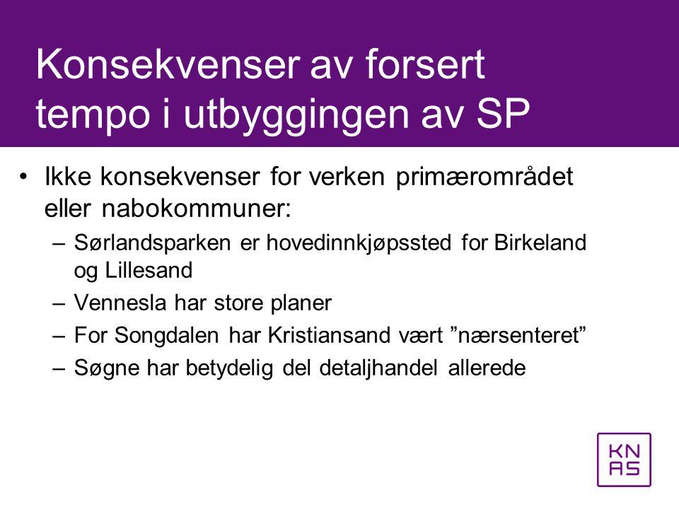 •Ikke konsekvenser for verken primærområdet eller nabokommuner: –Sørlandsparken er hovedinnkjøpssted for Birkeland og Lillesand –Vennesla har store pl