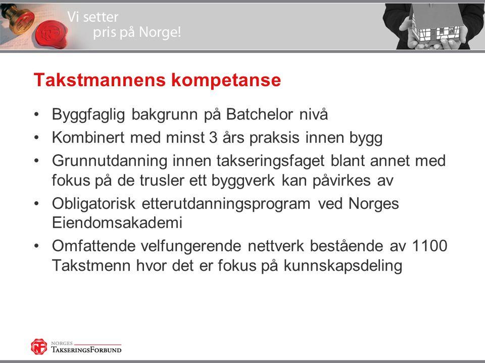 Takstmannens kompetanse •Byggfaglig bakgrunn på Batchelor nivå •Kombinert med minst 3 års praksis innen bygg •Grunnutdanning innen takseringsfaget blant annet med fokus på de trusler ett byggverk kan påvirkes av •Obligatorisk etterutdanningsprogram ved Norges Eiendomsakademi •Omfattende velfungerende nettverk bestående av 1100 Takstmenn hvor det er fokus på kunnskapsdeling