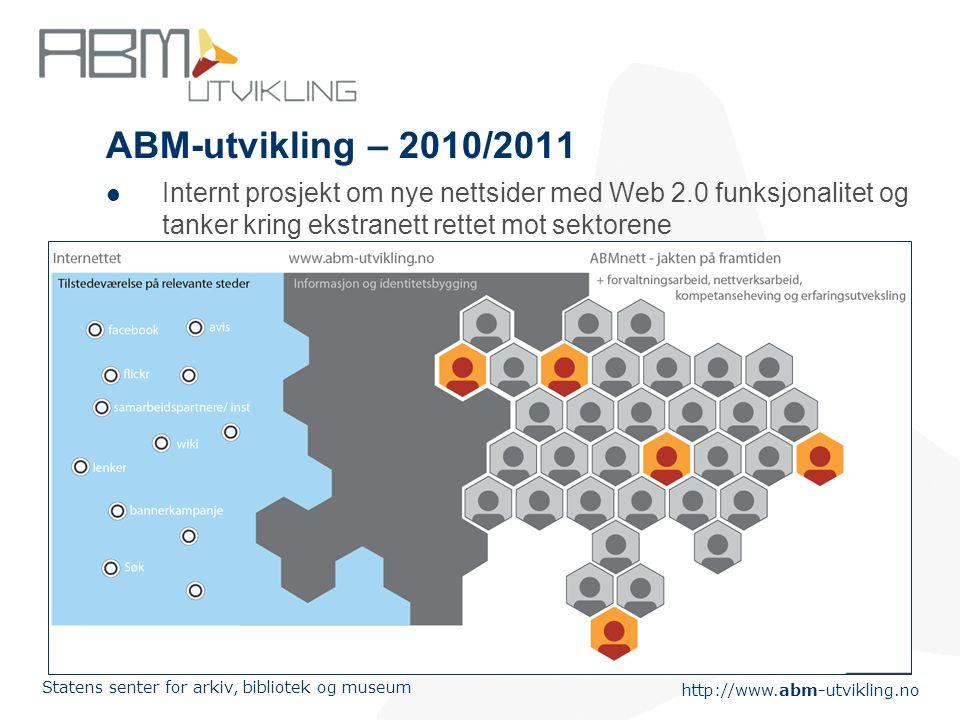 http://www.abm-utvikling.no Statens senter for arkiv, bibliotek og museum ABM-utvikling – 2010/2011  Internt prosjekt om nye nettsider med Web 2.0 funksjonalitet og tanker kring ekstranett rettet mot sektorene